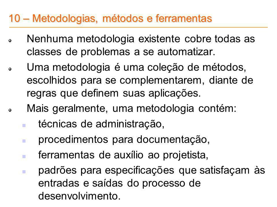 10 – Metodologias, métodos e ferramentas Nenhuma metodologia existente cobre todas as classes de problemas a se automatizar. Uma metodologia é uma col