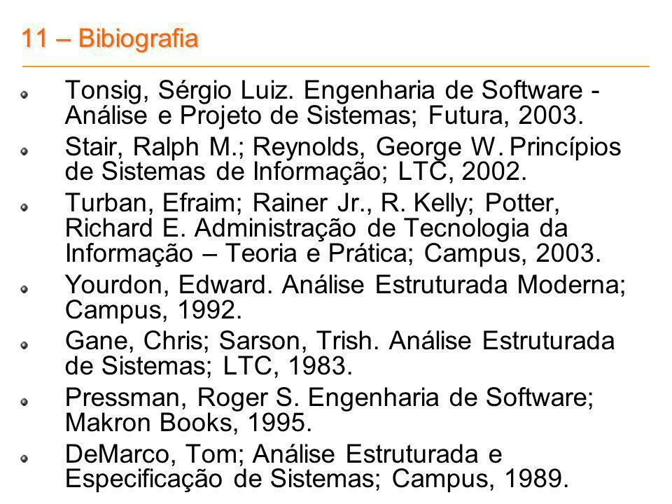11 – Bibiografia Tonsig, Sérgio Luiz. Engenharia de Software - Análise e Projeto de Sistemas; Futura, 2003. Stair, Ralph M.; Reynolds, George W. Princ