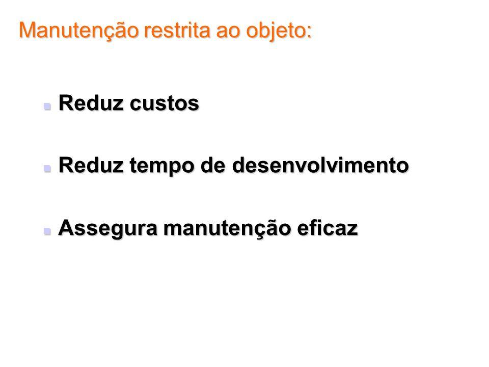 Manutenção restrita ao objeto: Reduz custos Reduz custos Reduz tempo de desenvolvimento Reduz tempo de desenvolvimento Assegura manutenção eficaz Asse