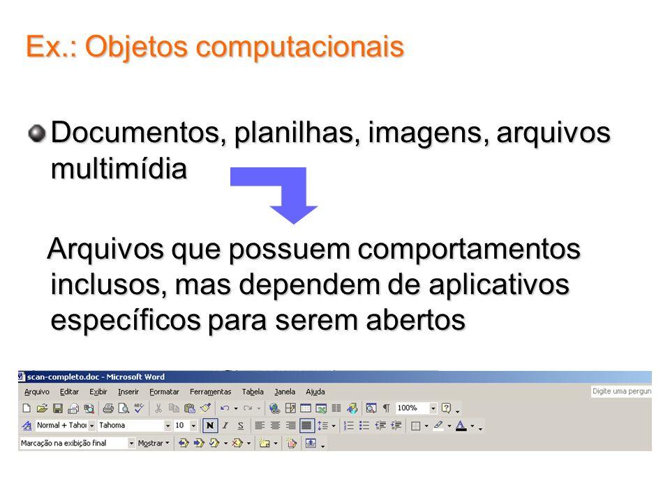 Ex.: Objetos computacionais Documentos, planilhas, imagens, arquivos multimídia Arquivos que possuem comportamentos inclusos, mas dependem de aplicati