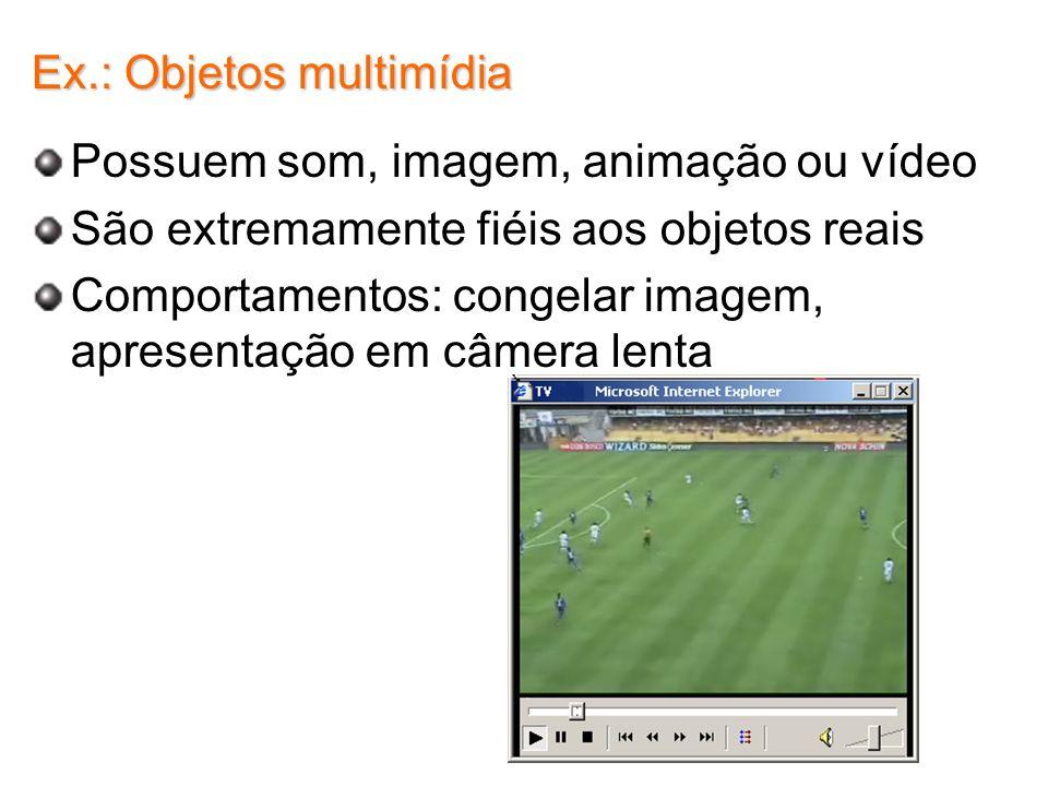 Ex.: Objetos multimídia Possuem som, imagem, animação ou vídeo São extremamente fiéis aos objetos reais Comportamentos: congelar imagem, apresentação