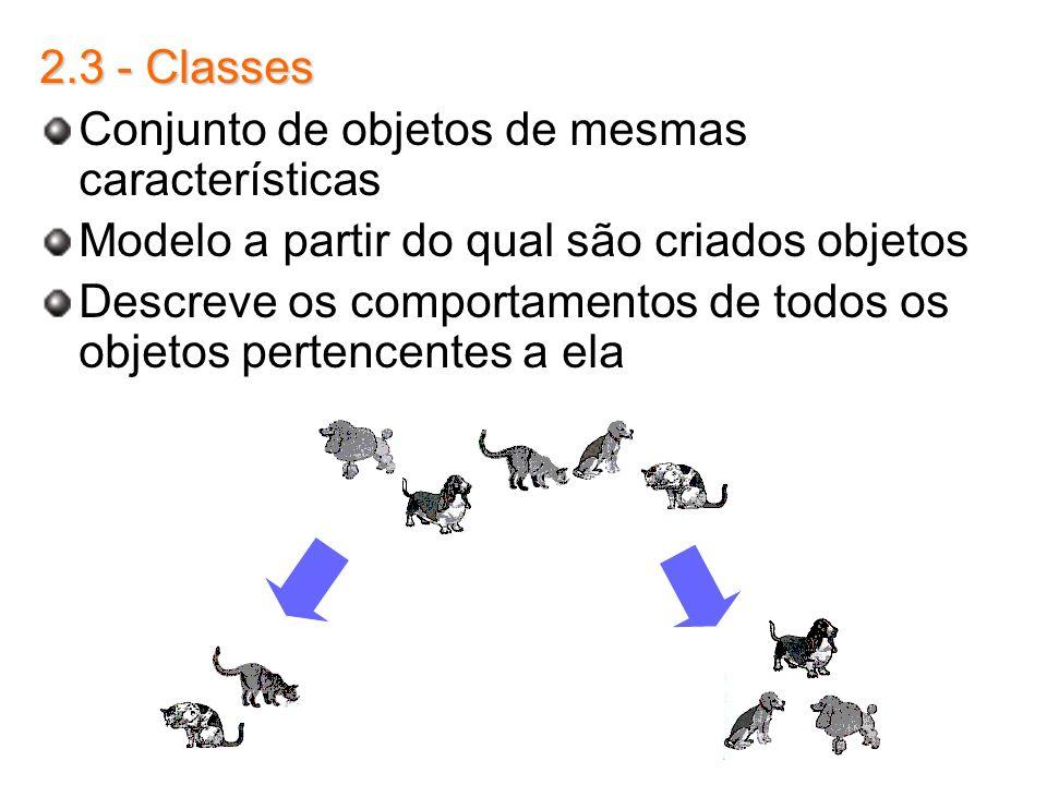 2.3 - Classes Conjunto de objetos de mesmas características Modelo a partir do qual são criados objetos Descreve os comportamentos de todos os objetos
