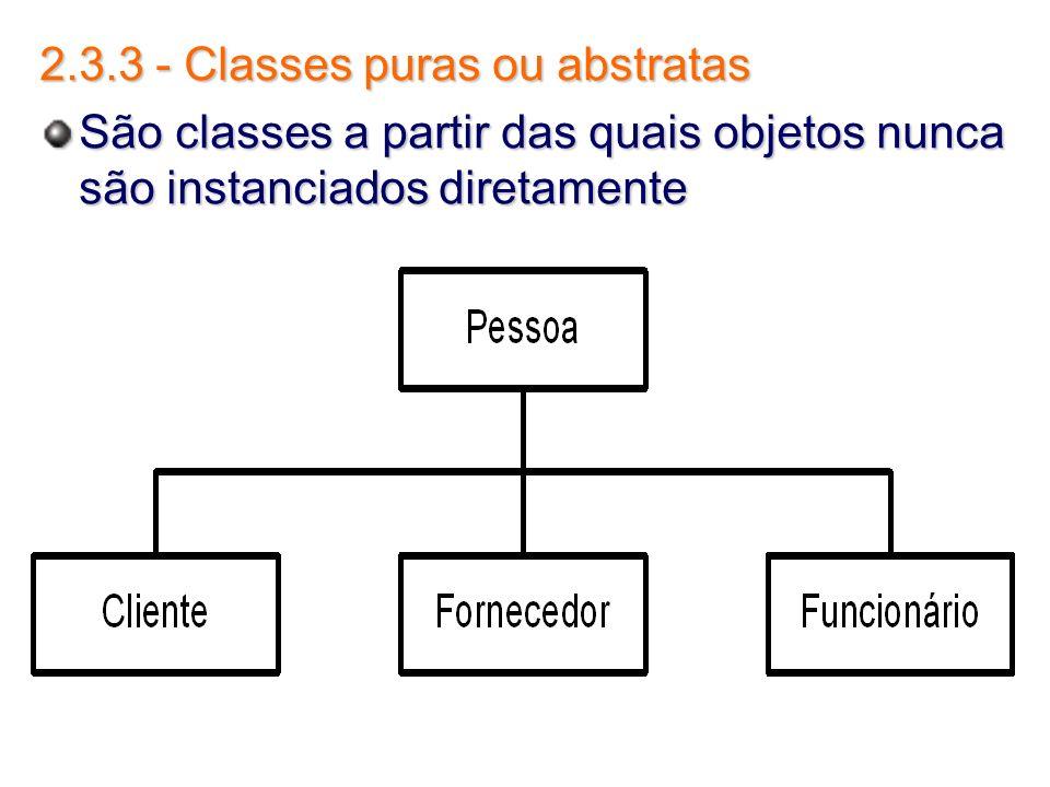 2.3.3 - Classes puras ou abstratas São classes a partir das quais objetos nunca são instanciados diretamente