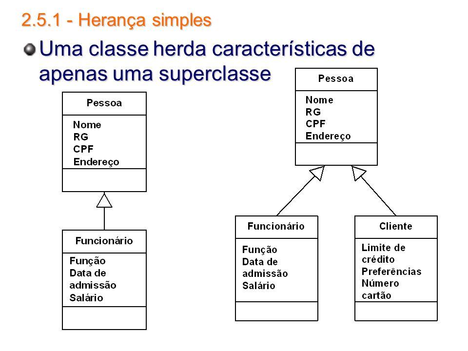2.5.1 - Herança simples Uma classe herda características de apenas uma superclasse