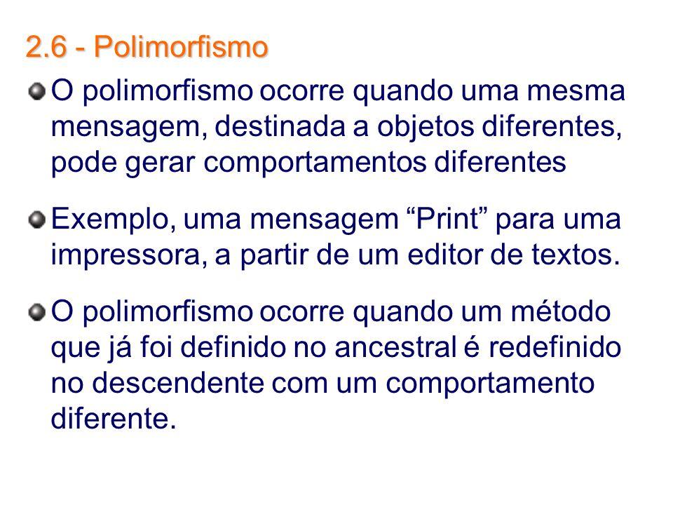 2.6 - Polimorfismo O polimorfismo ocorre quando uma mesma mensagem, destinada a objetos diferentes, pode gerar comportamentos diferentes Exemplo, uma