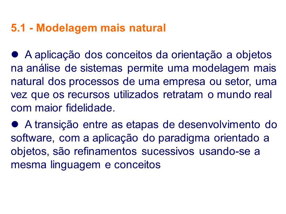 5.1 - Modelagem mais natural A aplicação dos conceitos da orientação a objetos na análise de sistemas permite uma modelagem mais natural dos processos
