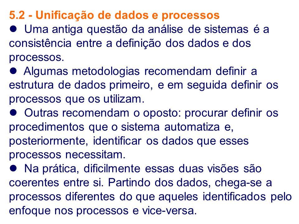 5.2 - Unificação de dados e processos Uma antiga questão da análise de sistemas é a consistência entre a definição dos dados e dos processos. Algumas