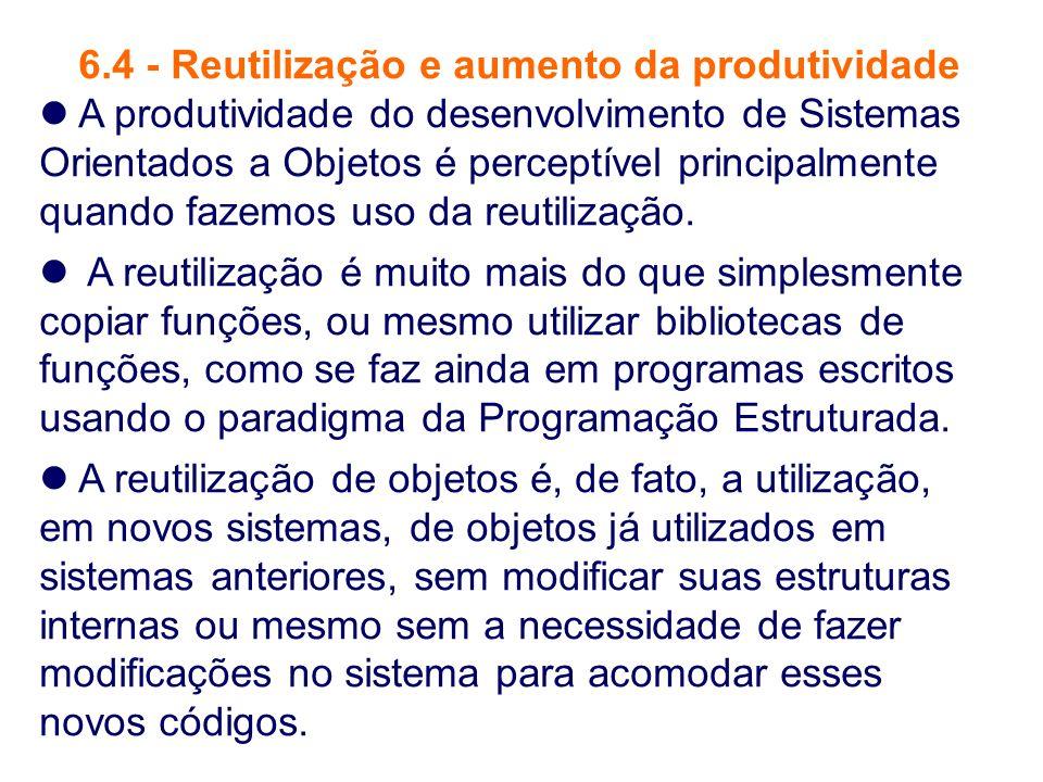 6.4 - Reutilização e aumento da produtividade A produtividade do desenvolvimento de Sistemas Orientados a Objetos é perceptível principalmente quando