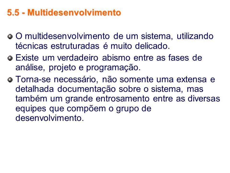 5.5 - Multidesenvolvimento O multidesenvolvimento de um sistema, utilizando técnicas estruturadas é muito delicado. Existe um verdadeiro abismo entre