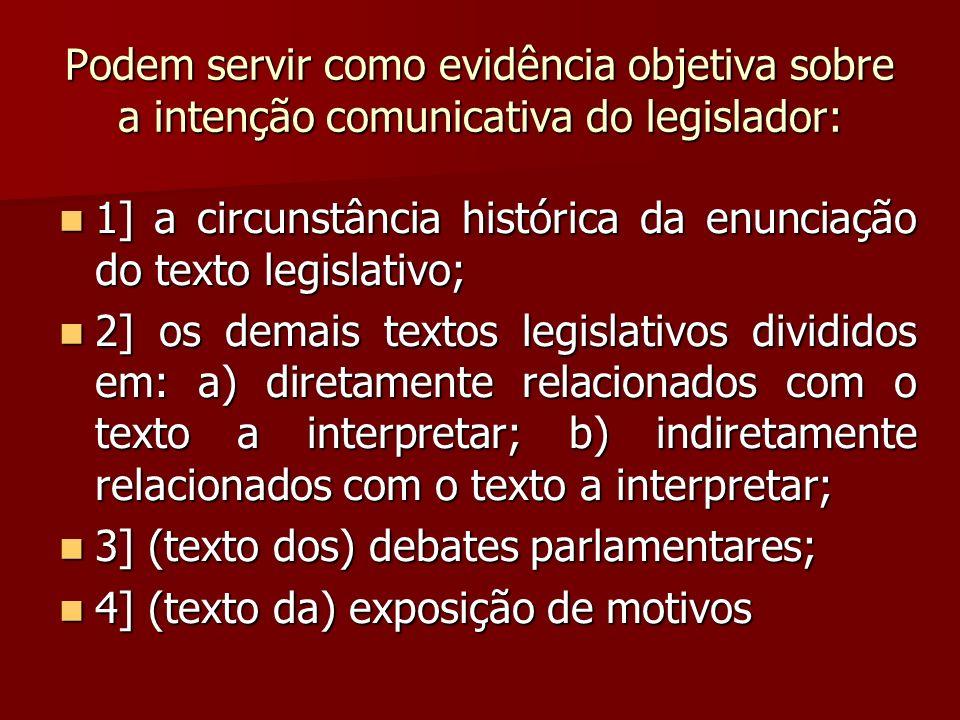 Podem servir como evidência objetiva sobre a intenção comunicativa do legislador: 1] a circunstância histórica da enunciação do texto legislativo; 1]