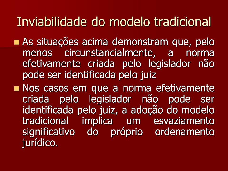 Inviabilidade do modelo tradicional As situações acima demonstram que, pelo menos circunstancialmente, a norma efetivamente criada pelo legislador não