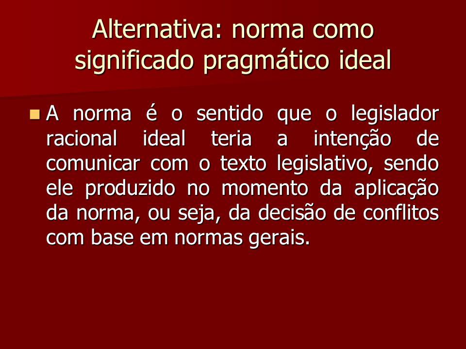 Alternativa: norma como significado pragmático ideal A norma é o sentido que o legislador racional ideal teria a intenção de comunicar com o texto leg