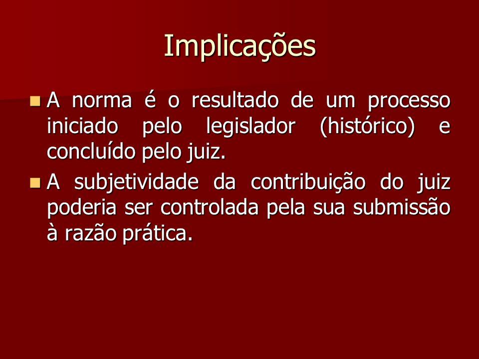Implicações A norma é o resultado de um processo iniciado pelo legislador (histórico) e concluído pelo juiz. A norma é o resultado de um processo inic