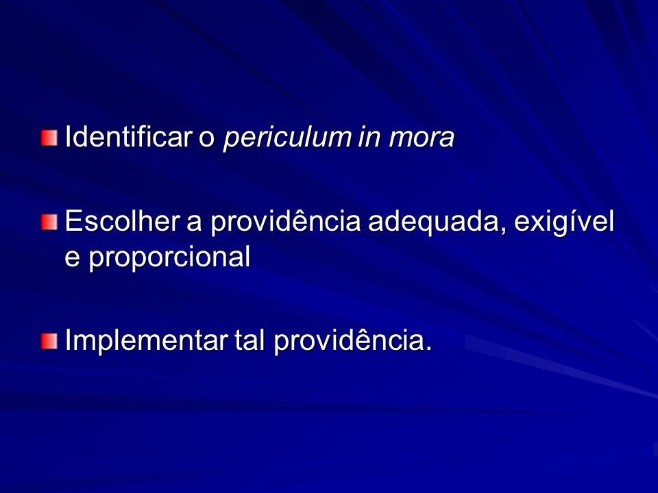 Identificar o periculum in mora Escolher a providência adequada, exigível e proporcional Implementar tal providência.