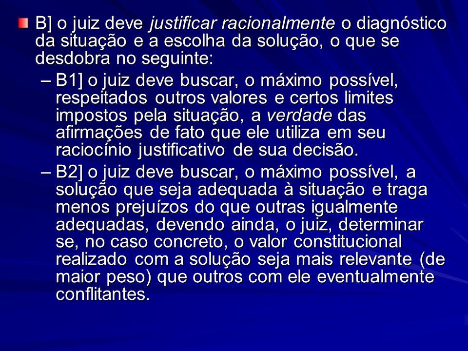 B] o juiz deve justificar racionalmente o diagnóstico da situação e a escolha da solução, o que se desdobra no seguinte: –B1] o juiz deve buscar, o má