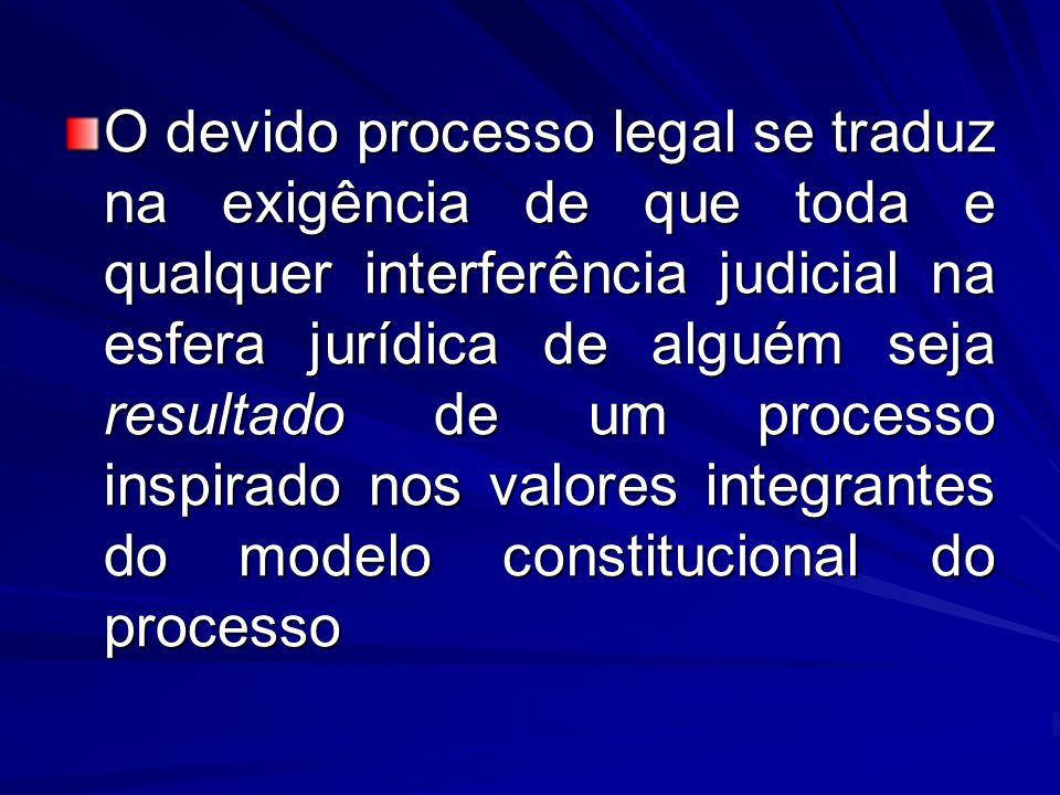 O devido processo legal se traduz na exigência de que toda e qualquer interferência judicial na esfera jurídica de alguém seja resultado de um processo inspirado nos valores integrantes do modelo constitucional do processo