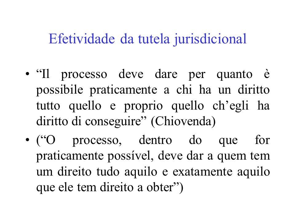 Efetividade da tutela jurisdicional Il processo deve dare per quanto è possibile praticamente a chi ha un diritto tutto quello e proprio quello chegli