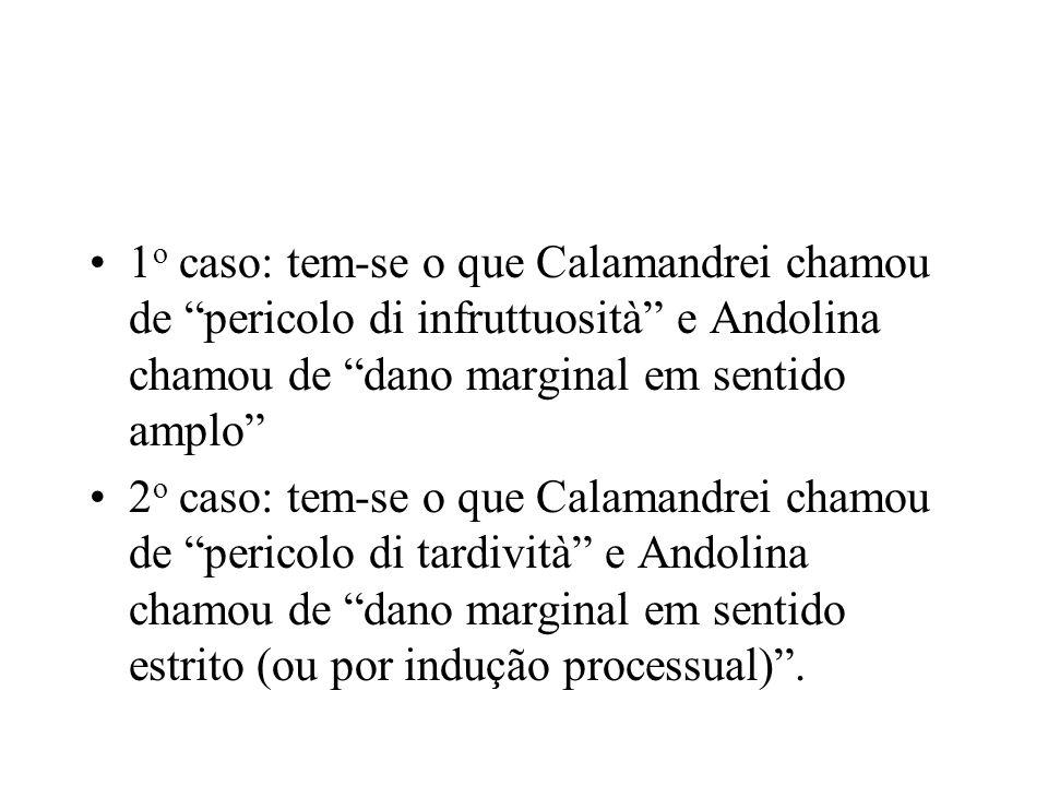 1 o caso: tem-se o que Calamandrei chamou de pericolo di infruttuosità e Andolina chamou de dano marginal em sentido amplo 2 o caso: tem-se o que Cala