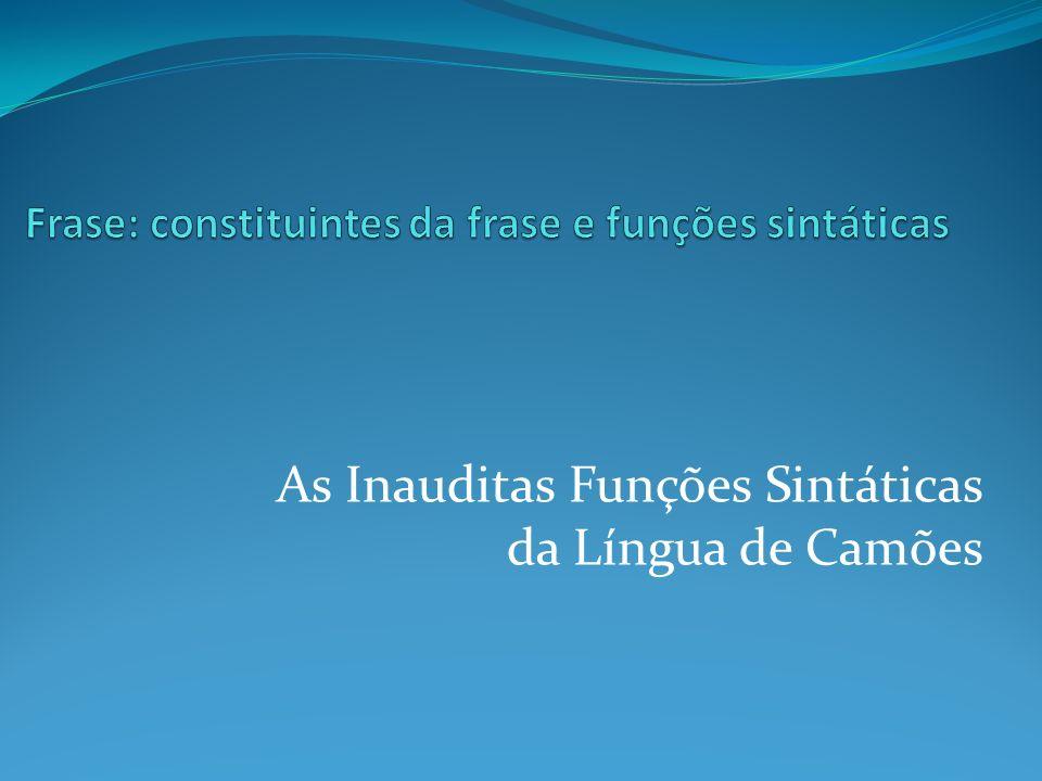 As Inauditas Funções Sintáticas da Língua de Camões