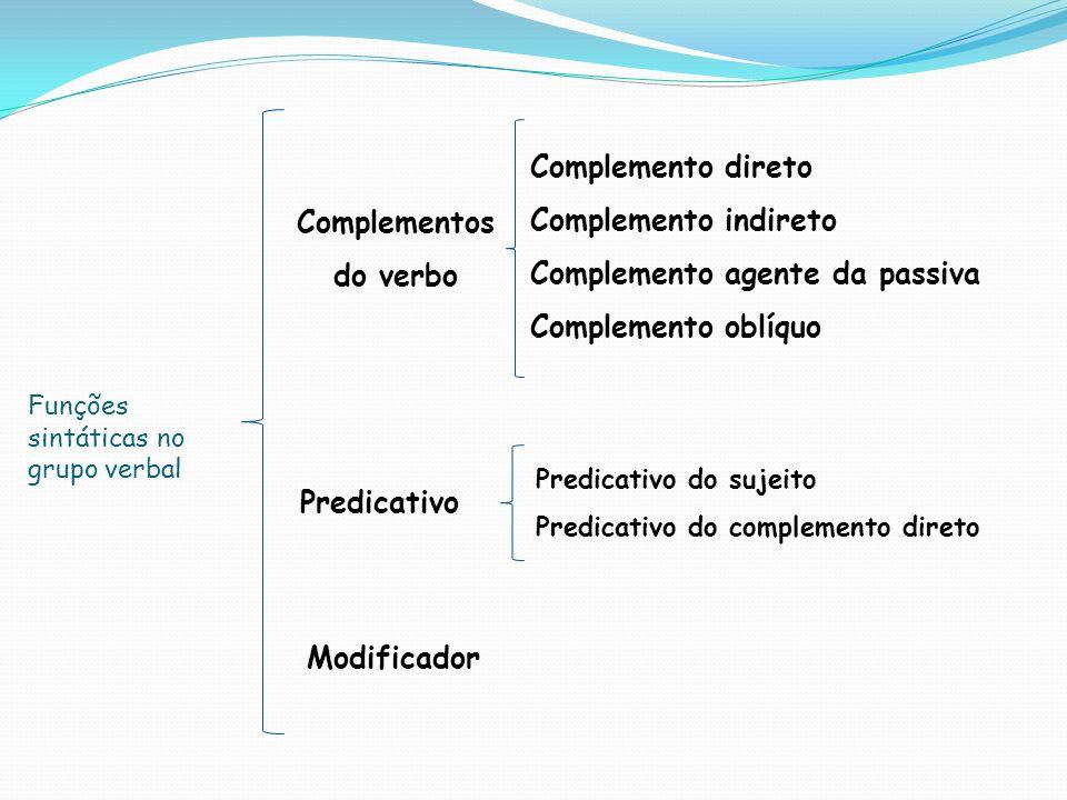 Funções sintáticas no grupo verbal Complementos do verbo Complemento direto Complemento indireto Complemento agente da passiva Complemento oblíquo Pre