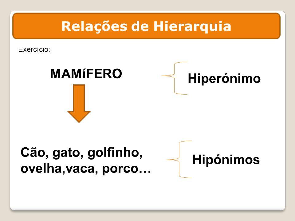 MAMíFERO Cão, gato, golfinho, ovelha,vaca, porco… Hipónimos Hiperónimo Exercício: