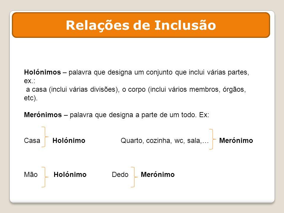Relações de Inclusão Holónimos – palavra que designa um conjunto que inclui várias partes, ex.: a casa (inclui várias divisões), o corpo (inclui vário
