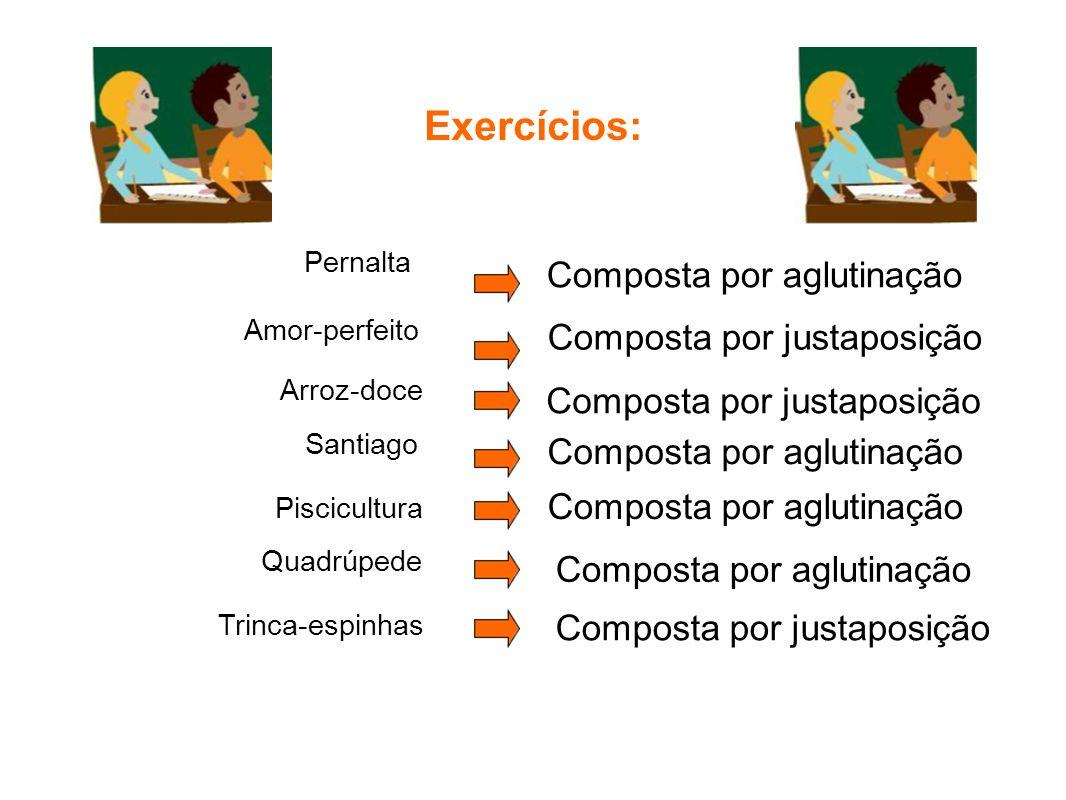 Exercícios: Pernalta Composta por aglutinação Amor-perfeito Arroz-doce Piscicultura Santiago Quadrúpede Composta por justaposição Composta por aglutin