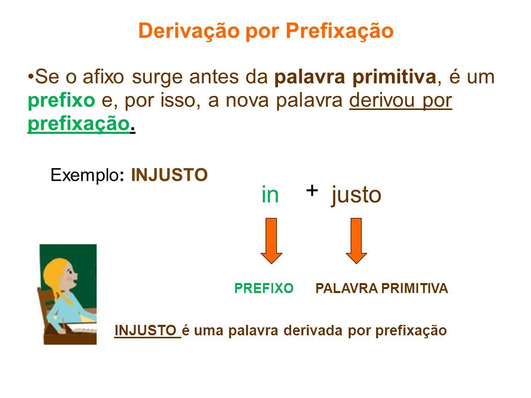 Se o afixo surge antes da palavra primitiva, é um prefixo e, por isso, a nova palavra derivou por prefixação. in Derivação por Prefixação Exemplo: INJ