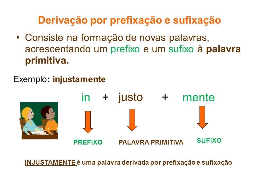 Derivação por prefixação e sufixação Consiste na formação de novas palavras, acrescentando um prefixo e um sufixo à palavra primitiva. justo mentein++