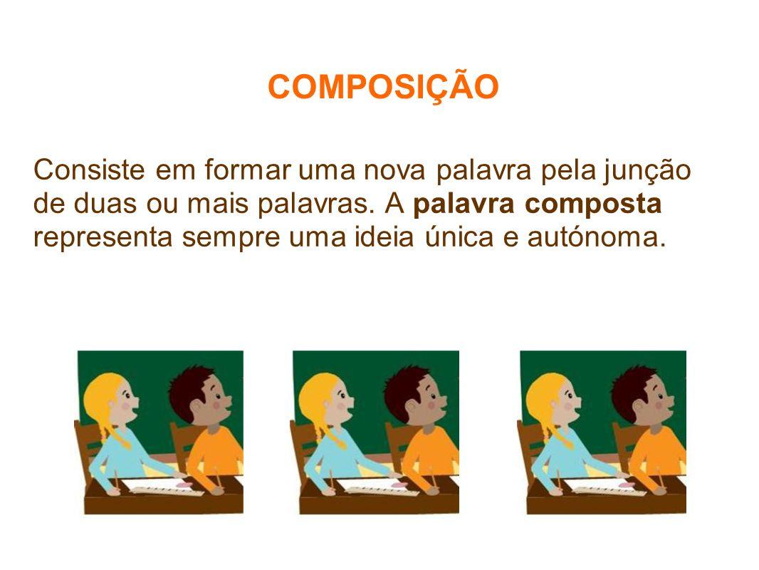 COMPOSIÇÃO Consiste em formar uma nova palavra pela junção de duas ou mais palavras. A palavra composta representa sempre uma ideia única e autónoma.