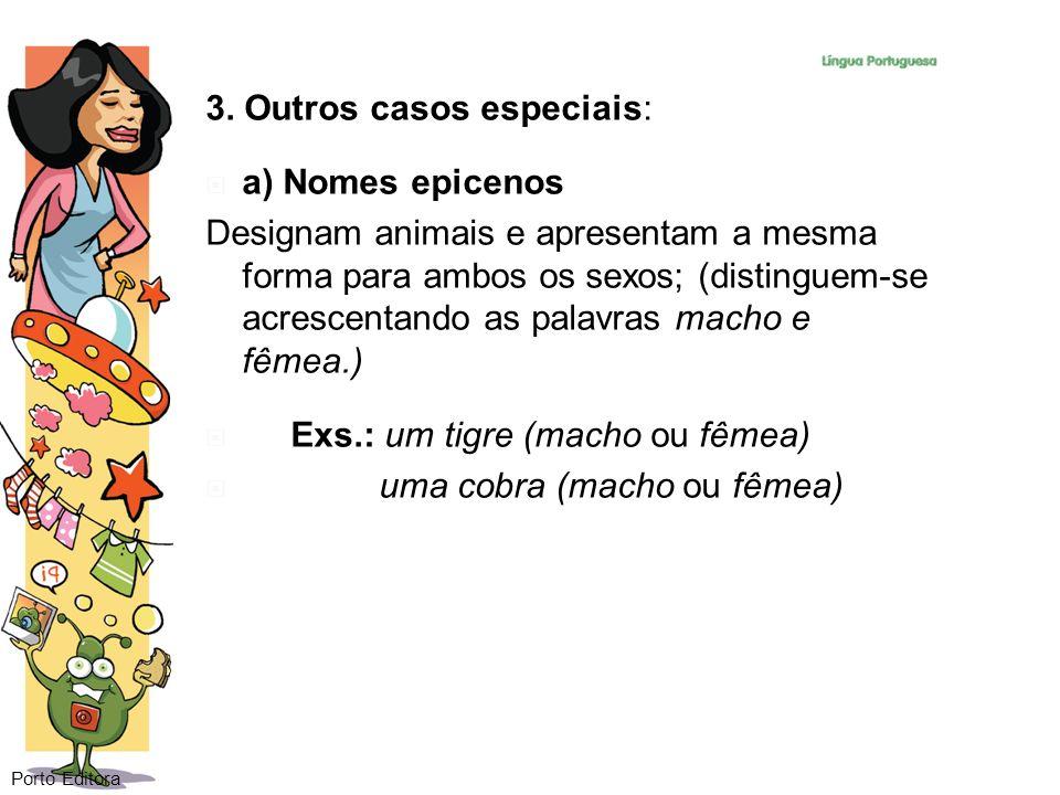 3. Outros casos especiais: a) Nomes epicenos Designam animais e apresentam a mesma forma para ambos os sexos; (distinguem-se acrescentando as palavras