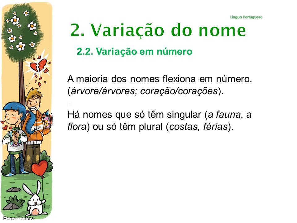 Porto Editora 2.2. Variação em número A maioria dos nomes flexiona em número. (árvore/árvores; coração/corações). Há nomes que só têm singular (a faun