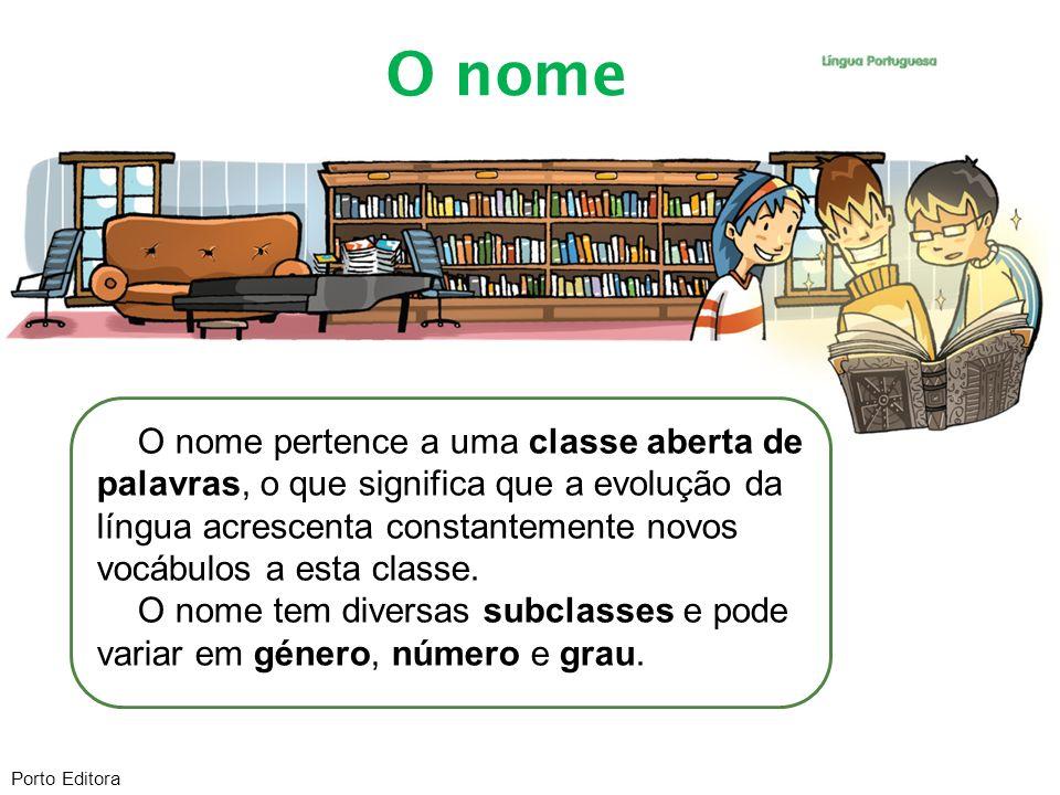 O nome pertence a uma classe aberta de palavras, o que significa que a evolução da língua acrescenta constantemente novos vocábulos a esta classe. O n