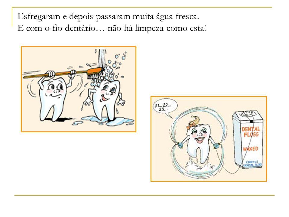 Esfregaram e depois passaram muita água fresca. E com o fio dentário… não há limpeza como esta!