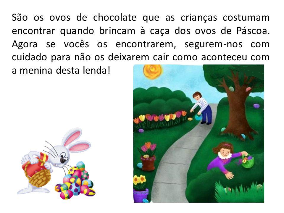 São os ovos de chocolate que as crianças costumam encontrar quando brincam à caça dos ovos de Páscoa. Agora se vocês os encontrarem, segurem-nos com c