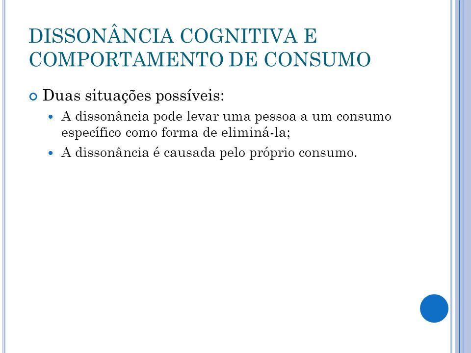 DISSONÂNCIA COGNITIVA E COMPORTAMENTO DE CONSUMO Duas situações possíveis: A dissonância pode levar uma pessoa a um consumo específico como forma de e