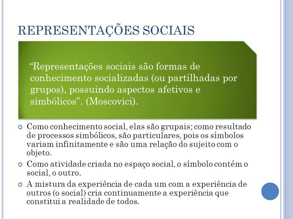Representações Sociais Têm existência independenteNão existem representações falsasNão há separação entre o todo e as partes, entre o individual e o grupal, entre o universal e o particular.