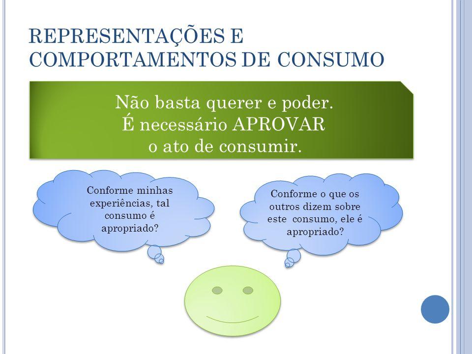 REPRESENTAÇÕES E COMPORTAMENTOS DE CONSUMO Não basta querer e poder. É necessário APROVAR o ato de consumir. Não basta querer e poder. É necessário AP