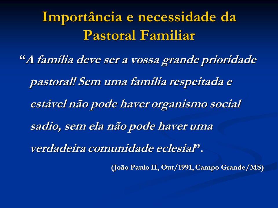 Importância e necessidade da Pastoral Familiar A família deve ser a vossa grande prioridade pastoral! Sem uma família respeitada e estável não pode ha