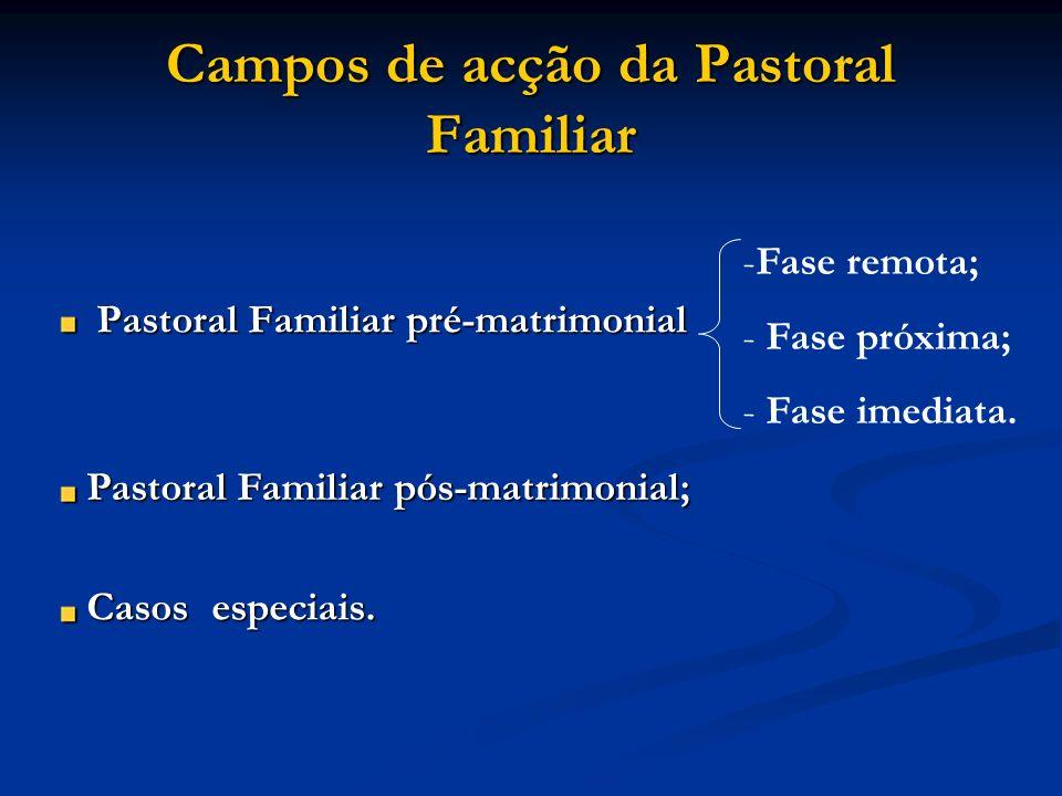 Campos de acção da Pastoral Familiar Pastoral Familiar pré-matrimonial --F--Fase remota; - - Fase próxima; ase imediata. Pastoral Familiar pós-matrimo