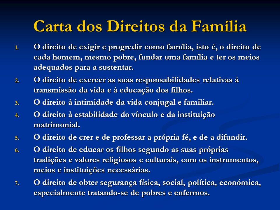 Carta dos Direitos da Família 1. O direito de exigir e progredir como família, isto é, o direito de cada homem, mesmo pobre, fundar uma família e ter