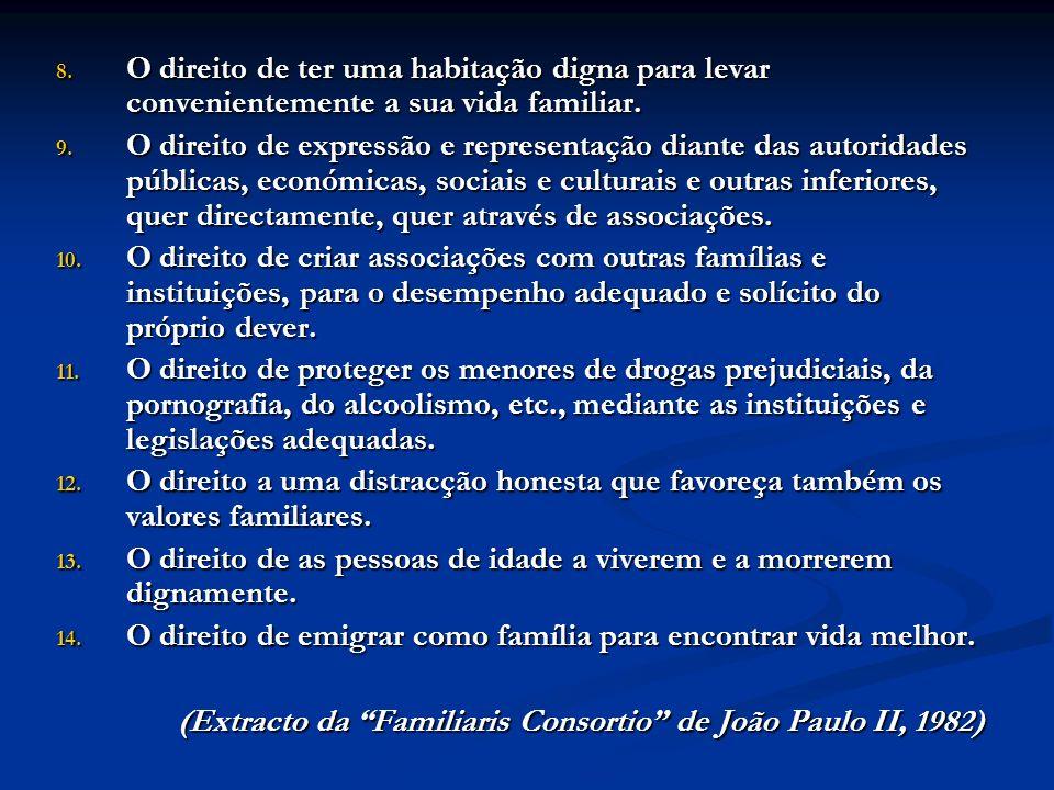 8. O direito de ter uma habitação digna para levar convenientemente a sua vida familiar. 9. O direito de expressão e representação diante das autorida