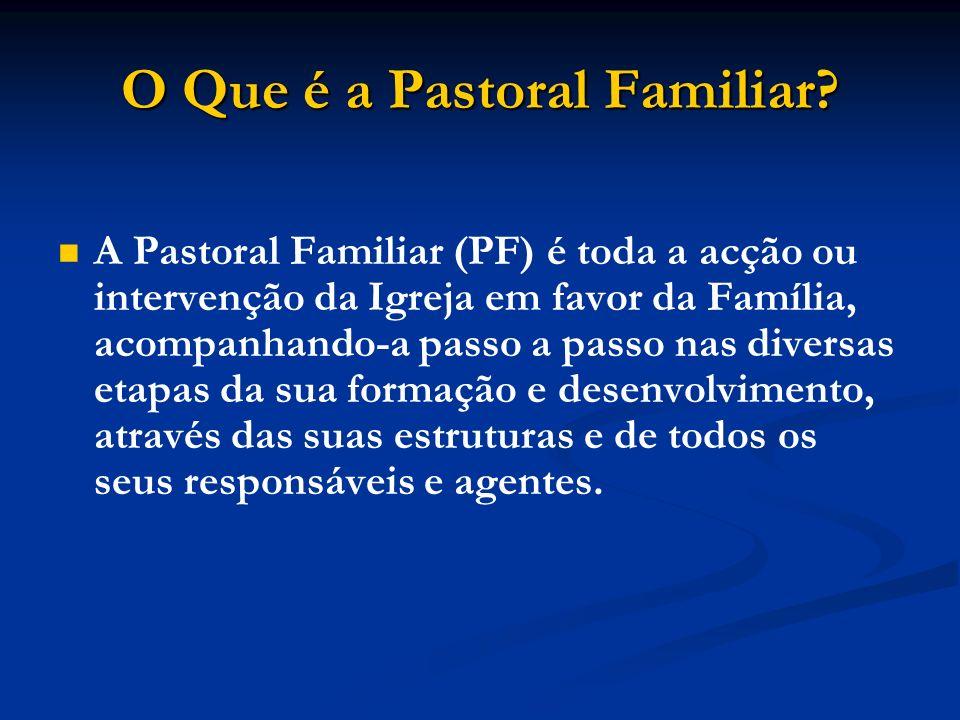 O Que é a Pastoral Familiar? A Pastoral Familiar (PF) é toda a acção ou intervenção da Igreja em favor da Família, acompanhando-a passo a passo nas di