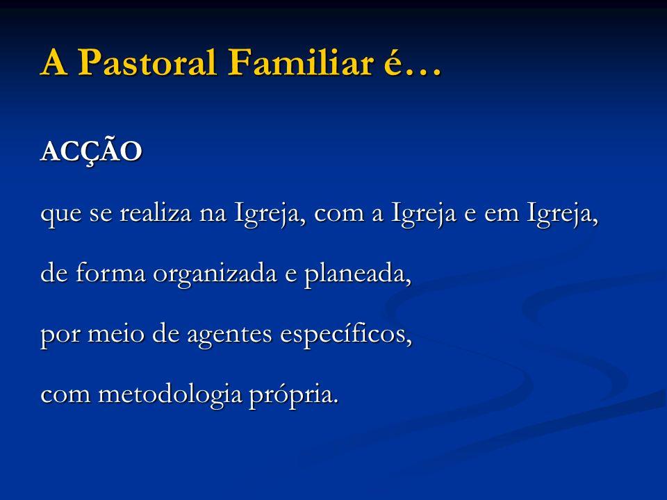 A Pastoral Familiar é… ACÇÃO que se realiza na Igreja, com a Igreja e em Igreja, de forma organizada e planeada, por meio de agentes específicos, com