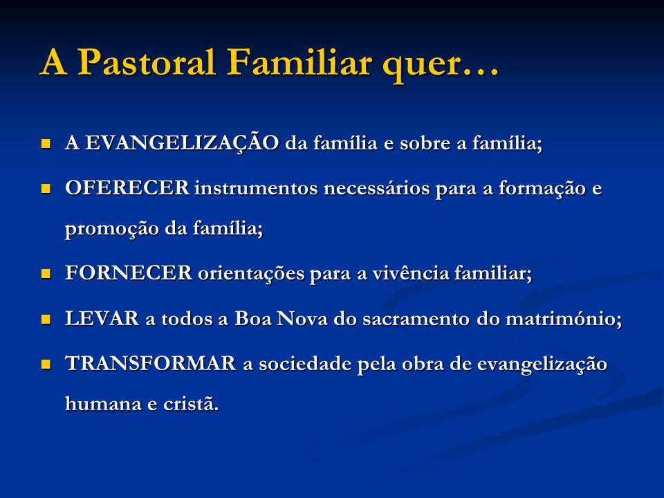 A Pastoral Familiar quer… A EVANGELIZAÇÃO da família e sobre a família; OFERECER instrumentos necessários para a formação e promoção da família; FORNE