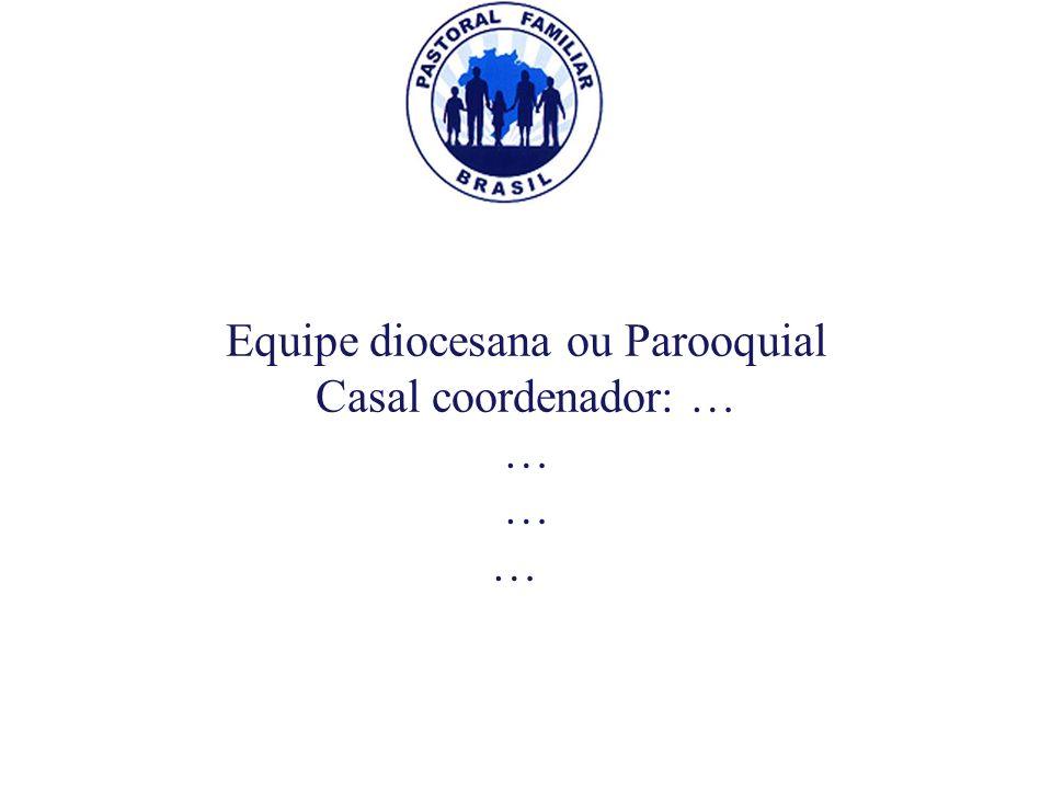 Equipe diocesana ou Parooquial Casal coordenador: … … Equipe diocesana ou Parooquial Casal coordenador: … …