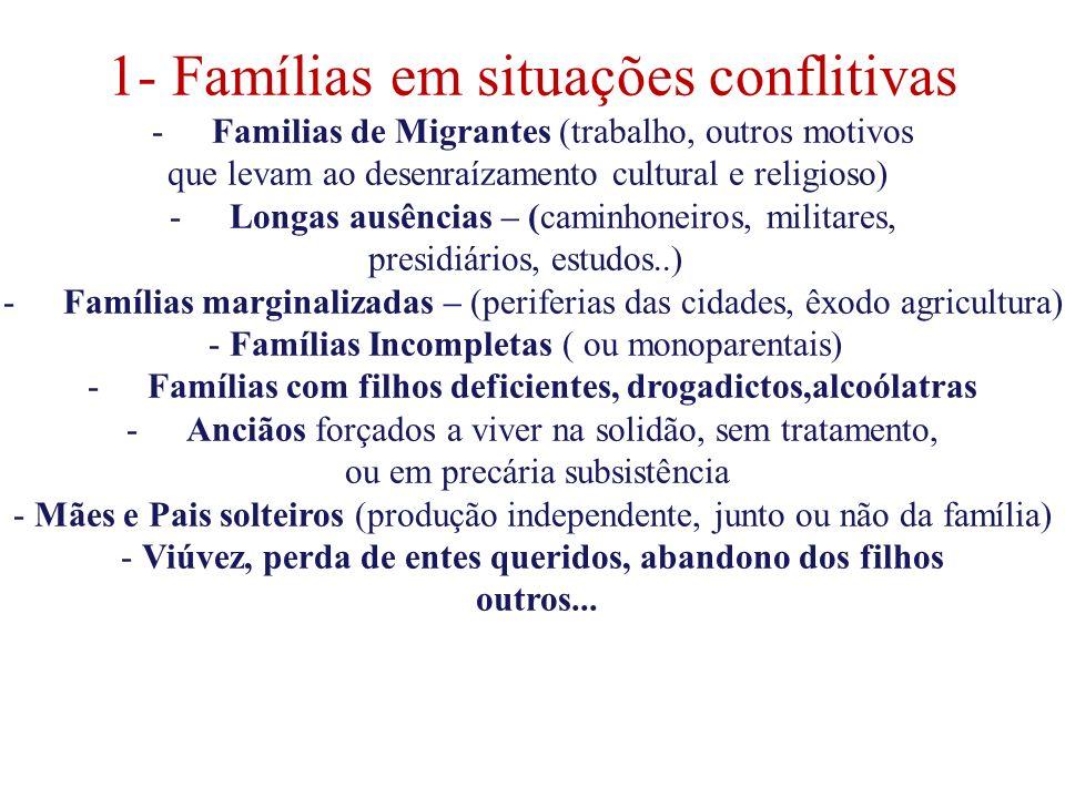 1- Famílias em situações conflitivas -Familias de Migrantes (trabalho, outros motivos que levam ao desenraízamento cultural e religioso) -Longas ausên