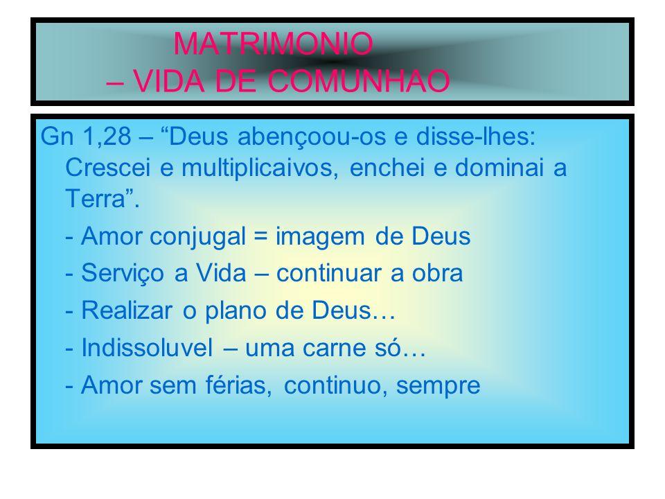 MATRIMONIO – VIDA DE COMUNHAO Lv 26,12 – Eu serei vosso Deus e vós sereis o meu povo.