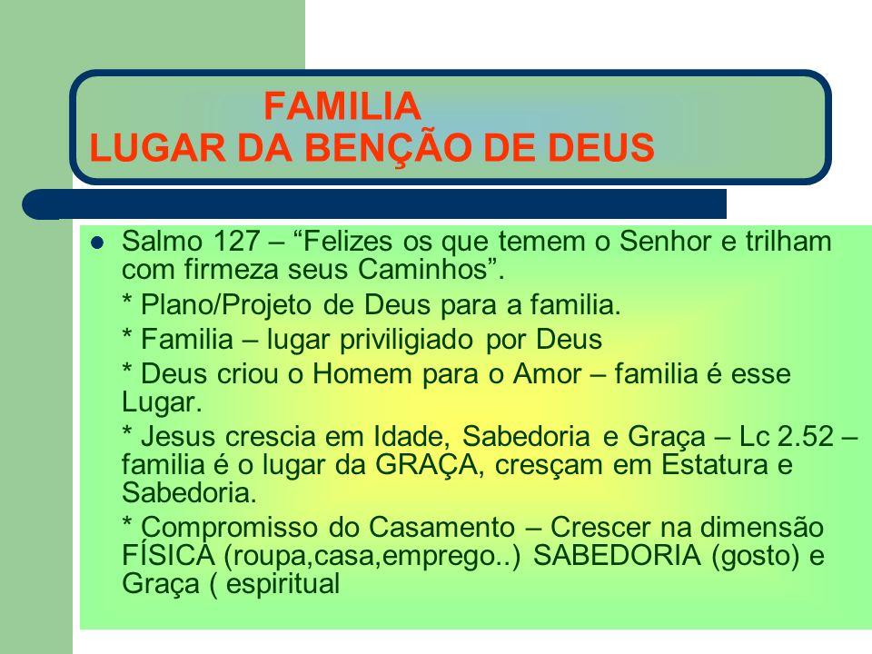 FAMILIA LUGAR DA BENÇÃO DE DEUS Salmo 127 – Felizes os que temem o Senhor e trilham com firmeza seus Caminhos. * Plano/Projeto de Deus para a familia.