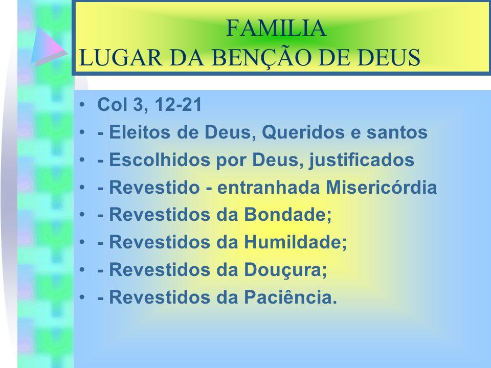 FAMILIA LUGAR DA BENÇÃO DE DEUS ICor 13,4 Amor é Dom do Espirito Santo**; - Não se IRRITA, - Não é POSSESSIVO - Não Guarda RANCOR - É PACIENTE – Tudo DESCULPA.